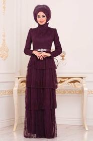Tesettürlü Abiye Elbise - Taş Detaylı Mürdüm Tesettür Abiye Elbise 39680MU - Thumbnail