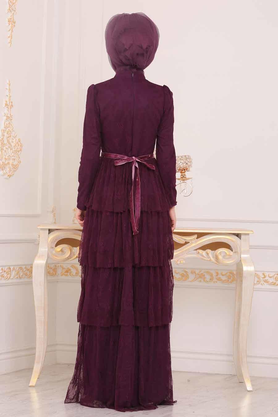 Tesettürlü Abiye Elbise - Taş Detaylı Mürdüm Tesettür Abiye Elbise 39680MU