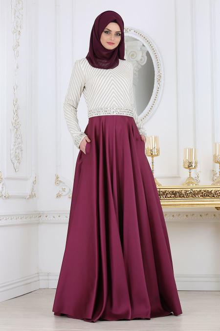 Tesettürlü Abiye Elbise - Taş Detaylı Mürdüm Tesettür Abiye Elbise 4387MU