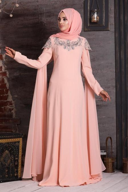 Tesettürlü Abiye Elbise - Taş Detaylı Somon Tesettür Abiye Elbise 20250SMN