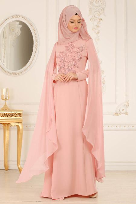 Tesettürlü Abiye Elbise - Taşlı Pudra Tesettür Abiye Elbise 38380PD