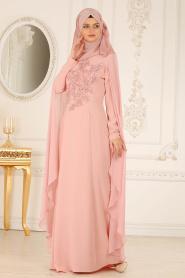 Tesettürlü Abiye Elbise - Taşlı Pudra Tesettür Abiye Elbise 38380PD - Thumbnail