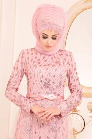 Tesettürlü Abiye Elbise - Tül Detaylı Pudra Tesettür Abiye Elbise 20872PD - Thumbnail