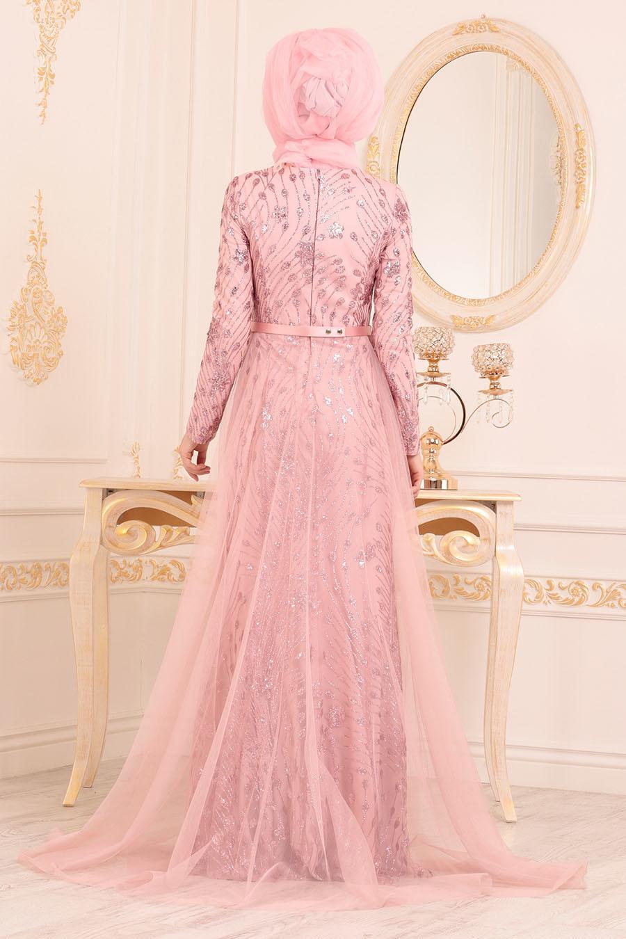 Tesettürlü Abiye Elbise - Tül Detaylı Pudra Tesettür Abiye Elbise 20872PD
