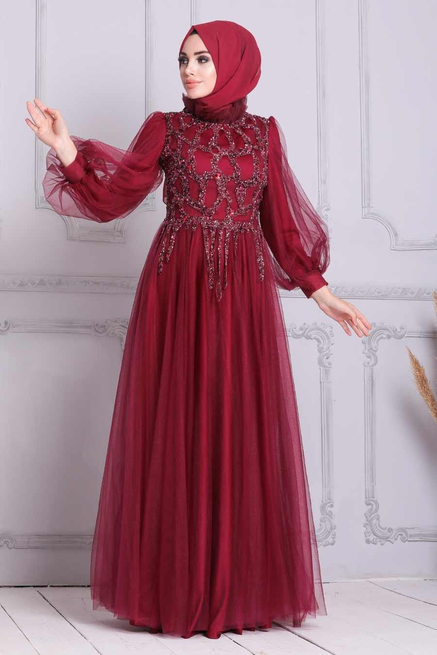 Tesettürlü Abiye Elbise - Tüllü Bordo Tesettür Abiye Elbise 4093BR