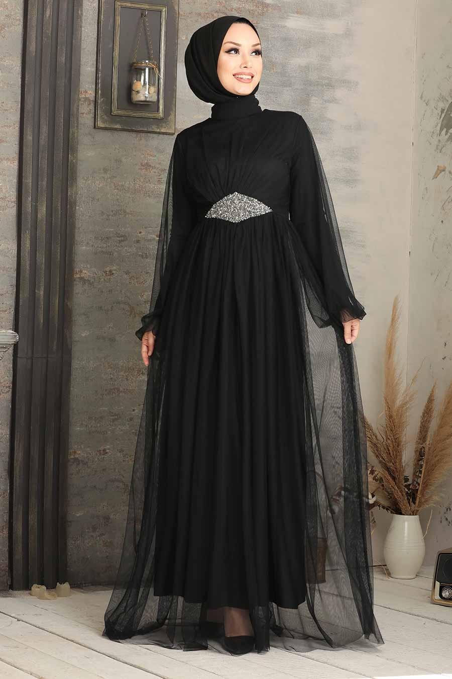 Tesettürlü Abiye Elbise - Tüllü Siyah Tesettür Abiye Elbise 54230S