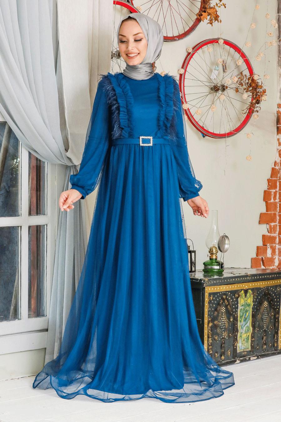Tesettürlü Abiye Elbise - Tüy Detaylı İndigo Mavisi Tesettür Abiye Elbise 34801IM