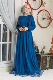 Tesettürlü Abiye Elbise - Tüy Detaylı İndigo Mavisi Tesettür Abiye Elbise 34801IM - Thumbnail