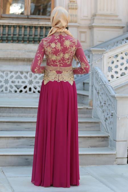 Tesettürlü Abiye Elbise - Üç Boyut Çiçek Detaylı Fuşya Tesettür Abiye Elbise 2145F