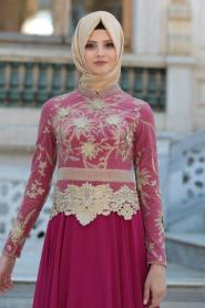 Tesettürlü Abiye Elbise - Üç Boyut Çiçek Detaylı Fuşya Tesettür Abiye Elbise 2145F - Thumbnail