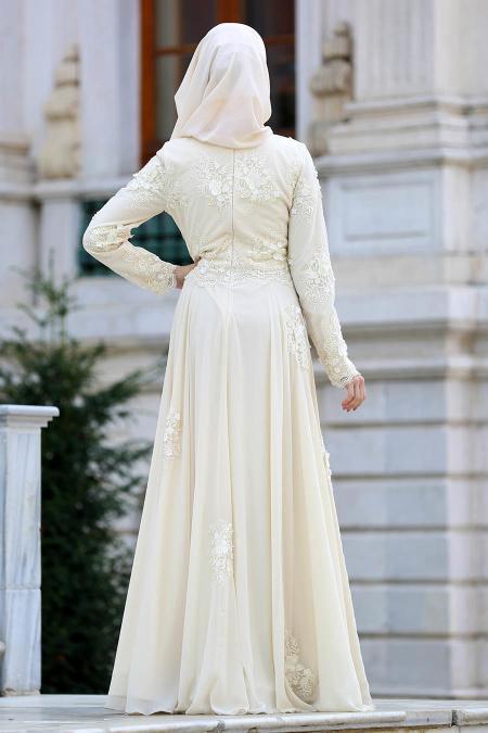 Tesettürlü Abiye Elbise - Üç Boyut Çiçekli Ekru Tesettür Abiye Elbise 4350E