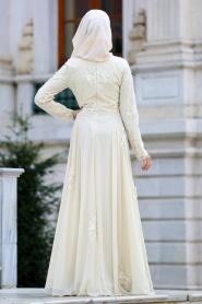 Tesettürlü Abiye Elbise - Üç Boyut Çiçekli Ekru Tesettür Abiye Elbise 4350E - Thumbnail