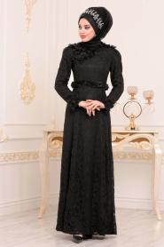 Tesettürlü Abiye Elbise - Üç Boyutlu Çiçek Detaylı Siyah Tesettür Abiye Elbise 190201S - Thumbnail