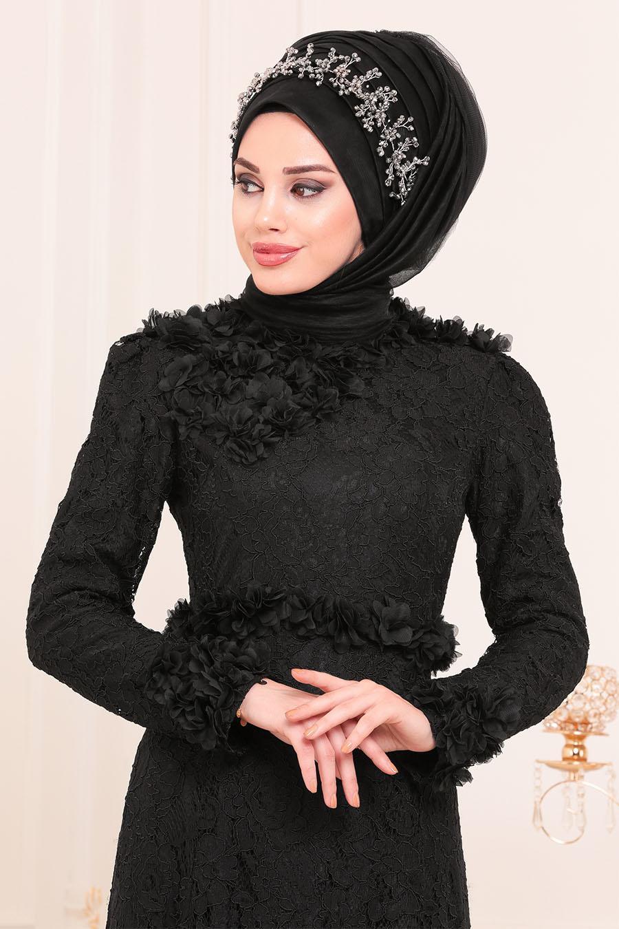 Tesettürlü Abiye Elbise - Üç Boyutlu Çiçek Detaylı Siyah Tesettür Abiye Elbise 190201S