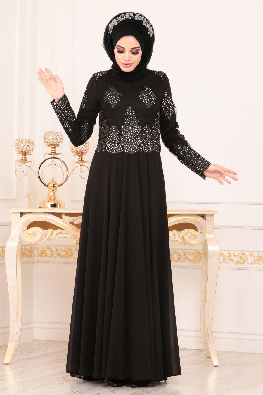 Tesettürlü Abiye Elbise - Üzeri Boncuk Dantelli Siyah Tesettür Abiye Elbise 7688S