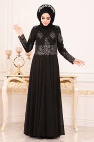 Tesettürlü Abiye Elbise - Üzeri Boncuk Dantelli Siyah Tesettür Abiye Elbise 7688S - Thumbnail