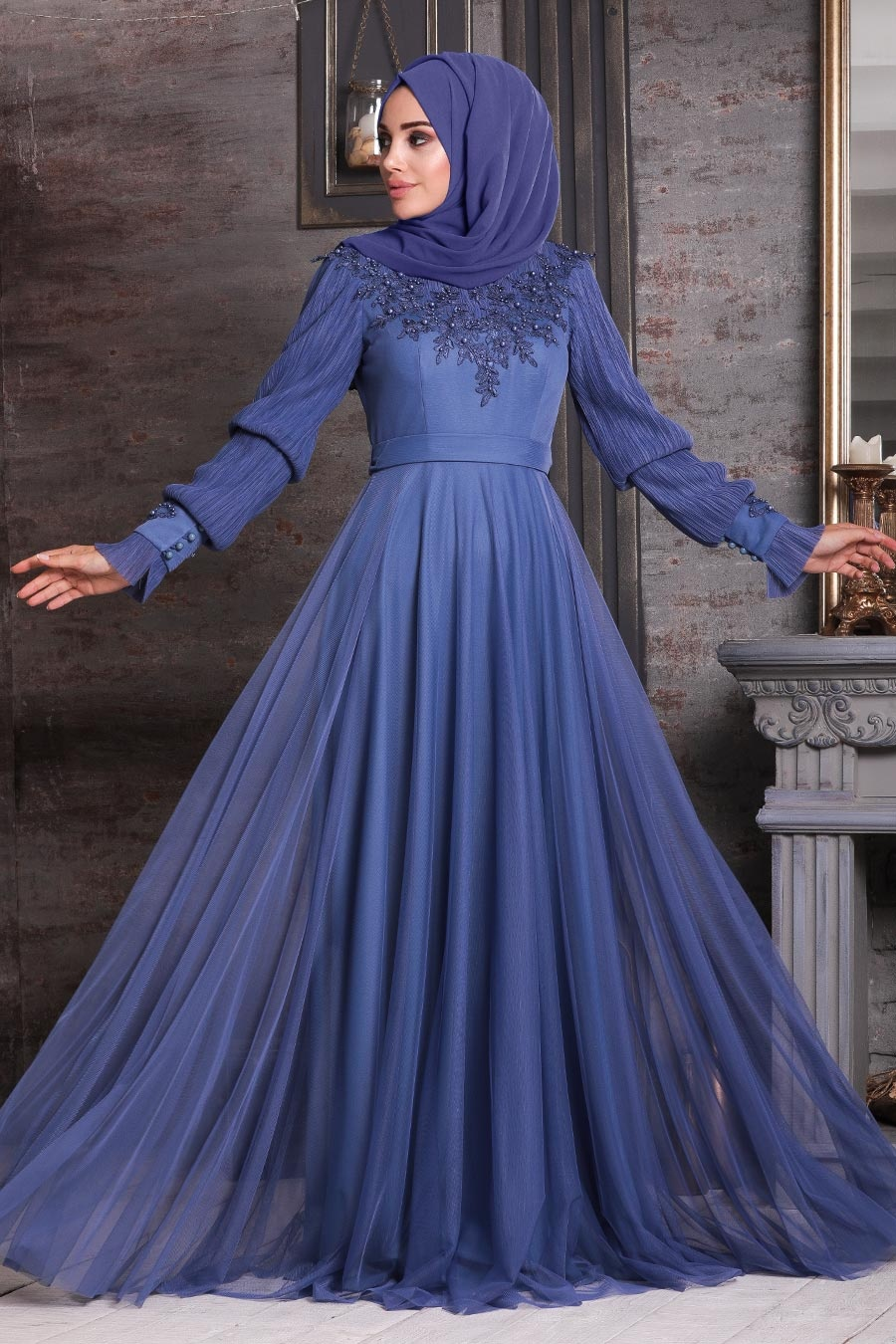 Tesettürlü Abiye Elbise - Üzeri Boncuk İşlemeli İndigo Mavisi Tesettür Abiye Elbise 21780IM