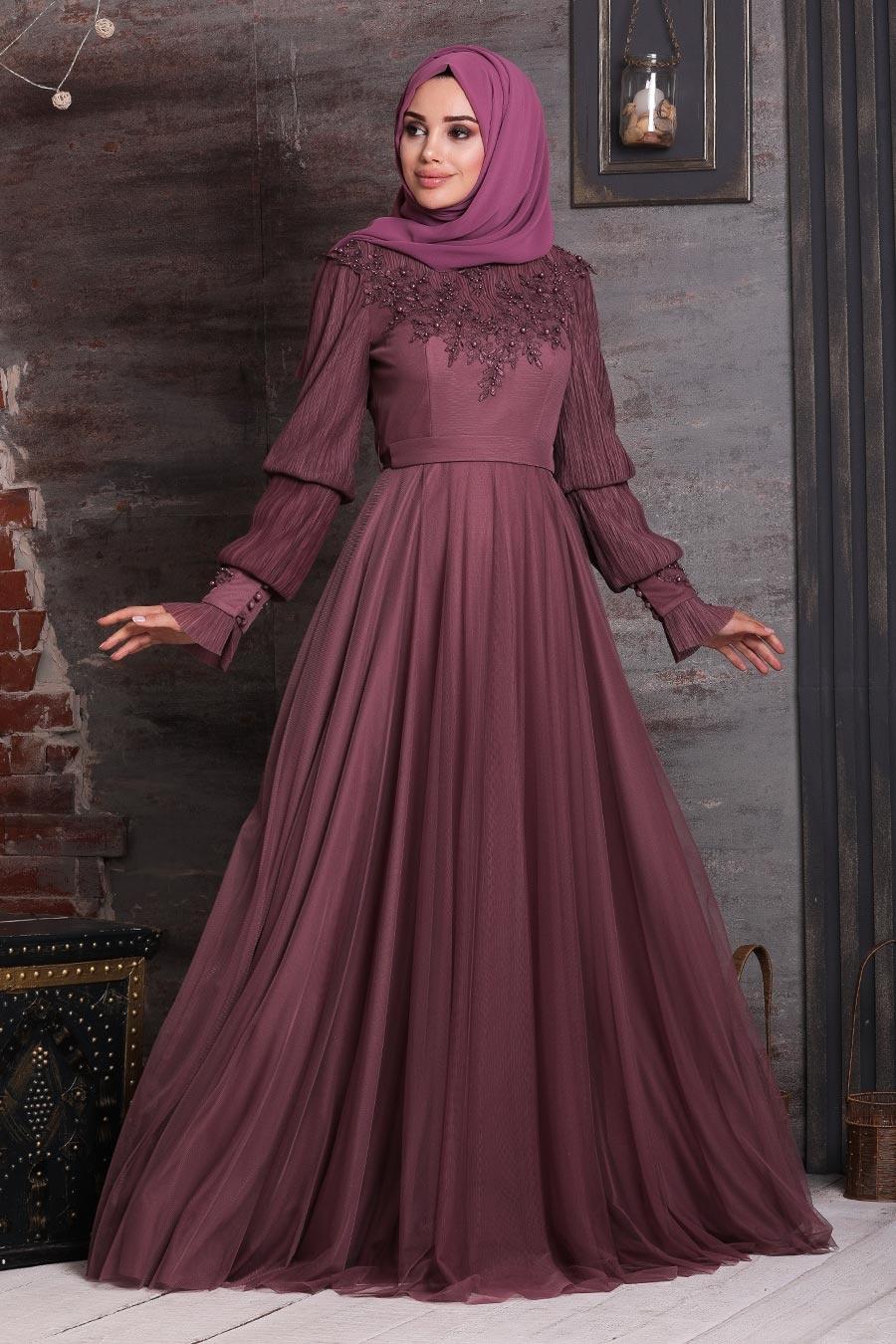 Tesettürlü Abiye Elbise - Üzeri Boncuk İşlemeli Koyu Gül Kurusu Tesettür Abiye Elbise 21780KGK