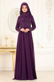 Tesettürlü Abiye Elbise - Üzeri Dantel Detaylı Mürdüm Tesettür Abiye Elbise 4332MU - Thumbnail