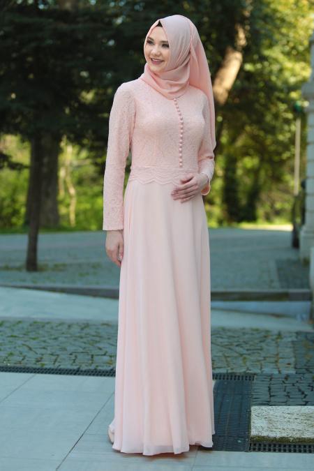 Tesettürlü Abiye Elbise - Üzeri Dantel Detaylı Pudra Tesettür Abiye Elbise 2275PD