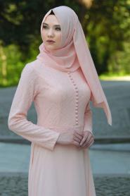 Tesettürlü Abiye Elbise - Üzeri Dantel Detaylı Pudra Tesettür Abiye Elbise 2275PD - Thumbnail