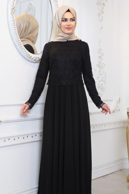 Tesettürlü Abiye Elbise - Üzeri Dantel Detaylı Siyah Tesettür Abiye Elbise 80160S