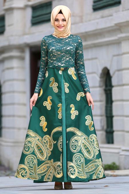 Tesettürlü Abiye Elbise - Üzeri Dantelli Yeşil Jakarlı Tesettür Abiye Elbise 82447Y