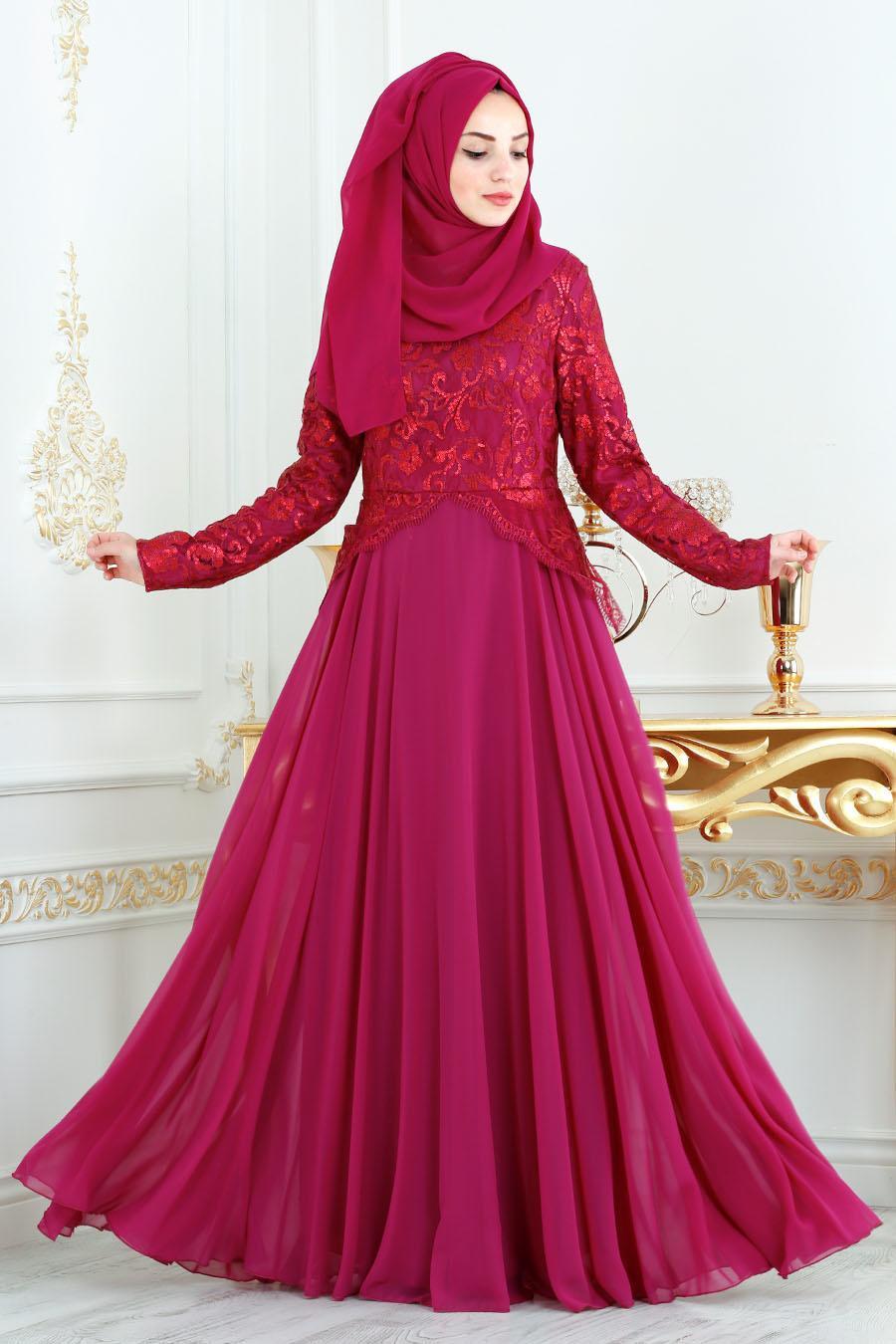 Tesettürlü Abiye Elbise - Üzeri Payetli Fuşya Tesettür Abiye Elbise 7603F