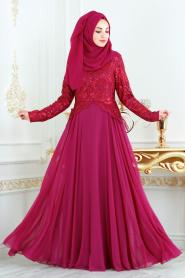 Tesettürlü Abiye Elbise - Üzeri Payetli Fuşya Tesettür Abiye Elbise 7603F - Thumbnail
