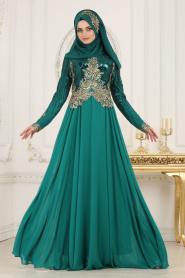 Tesettürlü Abiye Elbise - Üzeri Pul Payetli Çağla Yeşili Tesettür Abiye Elbise 7973CY - Thumbnail