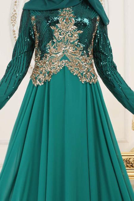 Tesettürlü Abiye Elbise - Üzeri Pul Payetli Çağla Yeşili Tesettür Abiye Elbise 7973CY