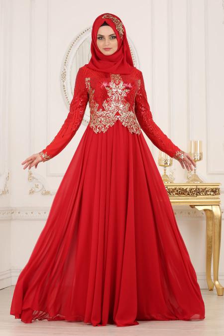 Tesettürlü Abiye Elbise - Üzeri Pul Payetli Kırmızı Tesettür Abiye Elbise 7973K