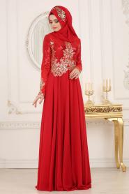Tesettürlü Abiye Elbise - Üzeri Pul Payetli Kırmızı Tesettür Abiye Elbise 7973K - Thumbnail