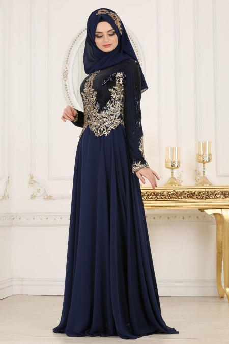Tesettürlü Abiye Elbise - Üzeri Pul Payetli Lacivert Tesettür Abiye Elbise 7973L