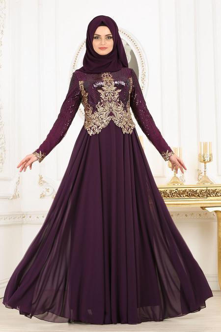 Tesettürlü Abiye Elbise - Üzeri Pul Payetli Mürdüm Tesettür Abiye Elbise 7973MU