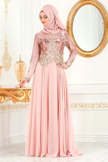 Tesettürlü Abiye Elbise - Üzeri Pul Payetli Pudra Tesettür Abiye Elbise 7973PD