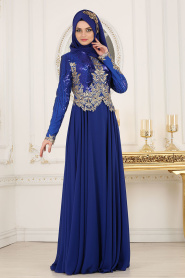 Tesettürlü Abiye Elbise - Üzeri Pul Payetli Sax Mavisi Tesettür Abiye Elbise 7973SX - Thumbnail
