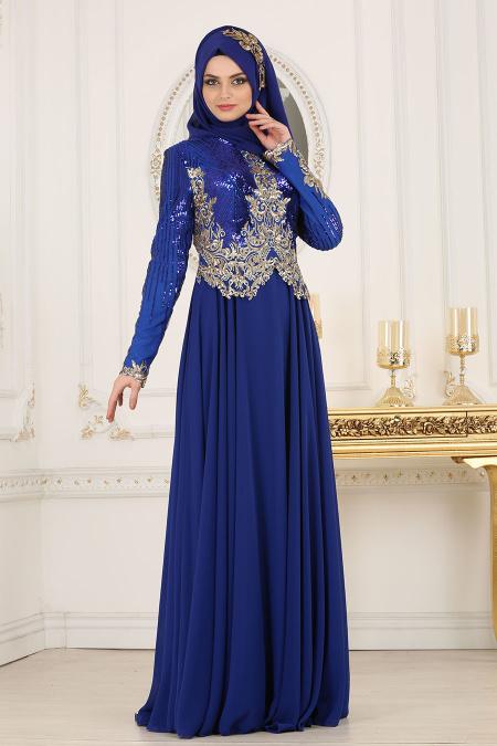 Tesettürlü Abiye Elbise - Üzeri Pul Payetli Sax Mavisi Tesettür Abiye Elbise 7973SX