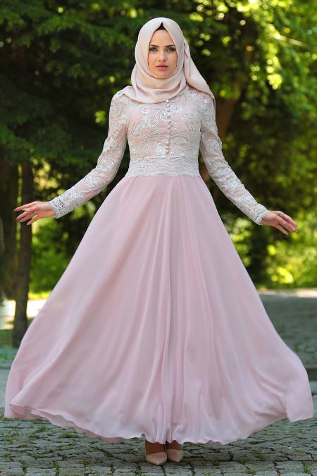 Tesettürlü Abiye Elbise - Üzeri Dantelli Pudra Tesettür Abiye Elbise 7697PD