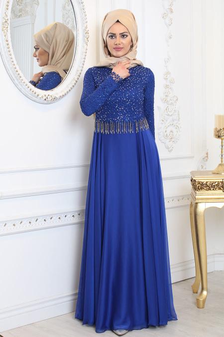 Tesettürlü Abiye Elbise - Üzeri Taş Detaylı Saks Mavisi Tesettür Abiye Elbise 7991SX