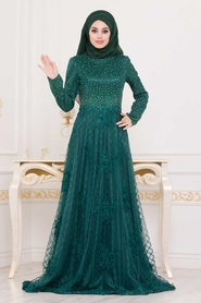 Tesettürlü Abiye Elbise - Üzeri Taş Detaylı Yeşil Tesettür Abiye Elbise 4394Y - Thumbnail