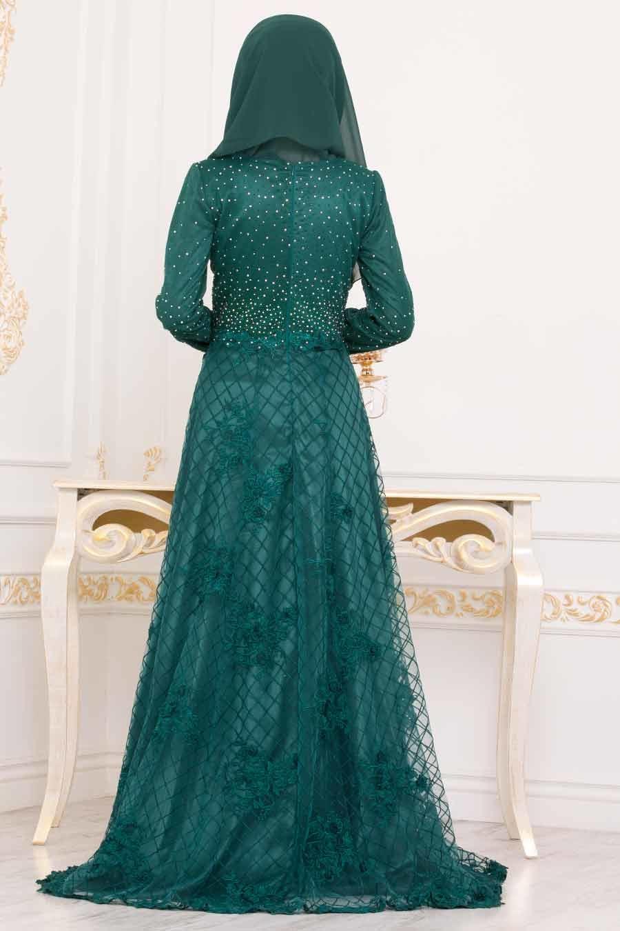 Tesettürlü Abiye Elbise - Üzeri Taş Detaylı Yeşil Tesettür Abiye Elbise 4394Y