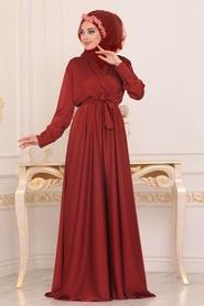 Tesettürlü Abiye Elbise - V Yaka Krep Saten Kiremit Tesettür Abiye Elbise 1418KRMT - Thumbnail