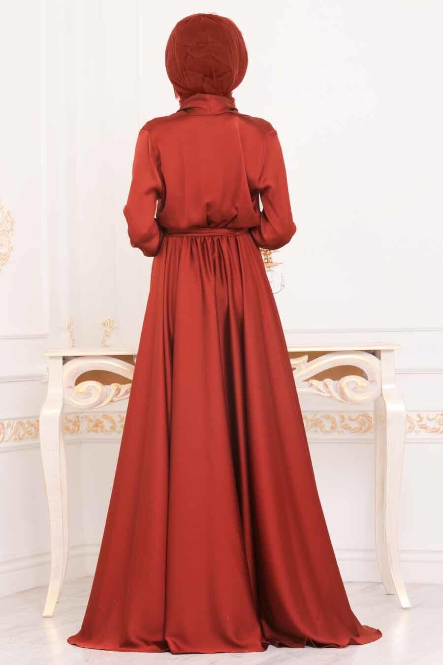 Tesettürlü Abiye Elbise - V Yaka Krep Saten Kiremit Tesettür Abiye Elbise 1418KRMT