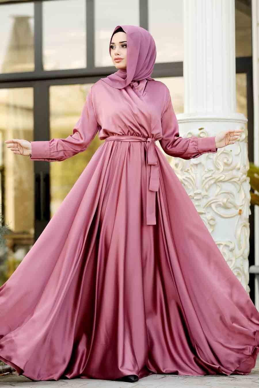 Tesettürlü Abiye Elbise - V Yaka Krep Saten Gül Kurusu Tesettür Abiye Elbise 1418GK