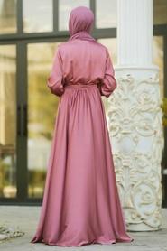 Tesettürlü Abiye Elbise - V Yaka Krep Saten Gül Kurusu Tesettür Abiye Elbise 1418GK - Thumbnail