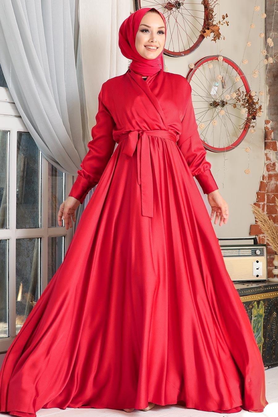 Tesettürlü Abiye Elbise - V Yaka Krep Saten Kırmızı Tesettür Abiye Elbise 1418K
