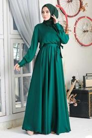 Tesettürlü Abiye Elbise - V Yaka Krep Saten Yeşil Tesettür Abiye Elbise 1418Y - Thumbnail