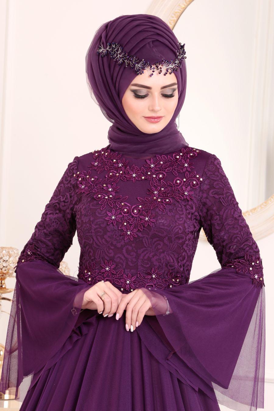 Tesettürlü Abiye Elbise - Volan Kol Dantelli Mor Tesettürlü Abiye Elbise 20571MOR