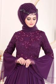 Tesettürlü Abiye Elbise - Volan Kol Dantelli Mor Tesettürlü Abiye Elbise 20571MOR - Thumbnail